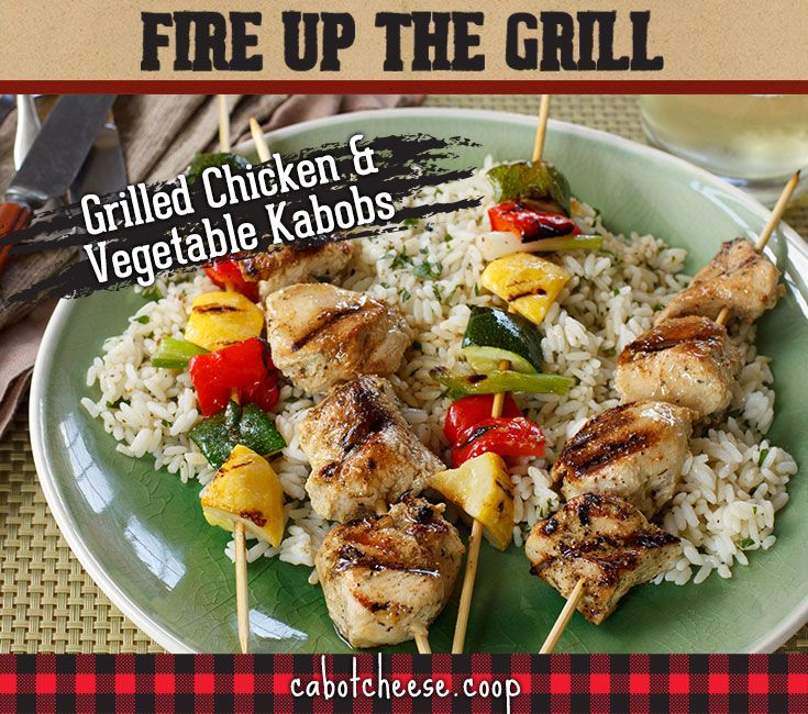 Nothing says summer like dinner on a stick! Colorful, easy, and delicious Grilled Chicken & Vegetable Kabobs @Cabot Cheese