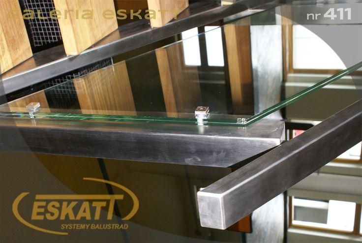 Safety glass balustrade with stainless steel railing #balustrade #eskatt #construction #stairs