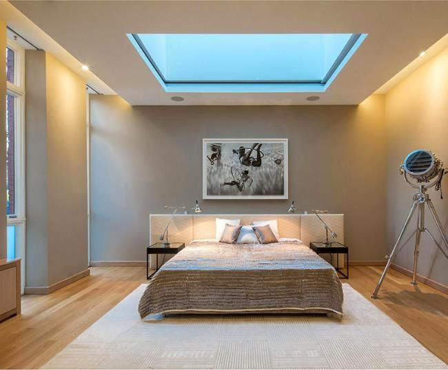 Simple Bedroom with Skylight - like the colour