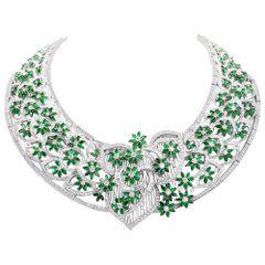 Remarkable Handcrafted Diamond Emerald 18 Karat Gold Collar Necklace