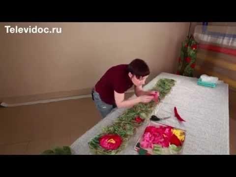 МК валяние шарфа крейзи цветы - YouTube