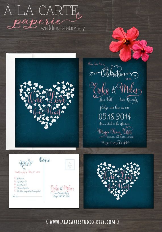 One Love, One Heart - Navy Blue Chalkboard Wedding Invitation Card and RSVP postcard on Etsy, $38.49