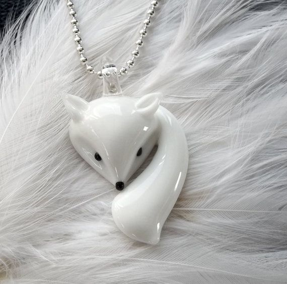 kitsune glass lucky fox necklace by houseofv on Etsy, $10.00