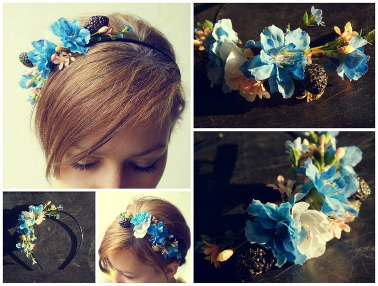 handmade by Hana   ◦ blu ◦  cerchietto/čelenka/headdress https://www.facebook.com/hmbyha?fref=ts