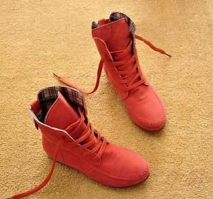 Women's Ankle Boots Nubuck Leather Moccasins Lace-Up High top Shoes Size4.5-10.5