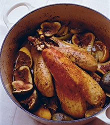 Pot-roast guinea  fowl with figs.