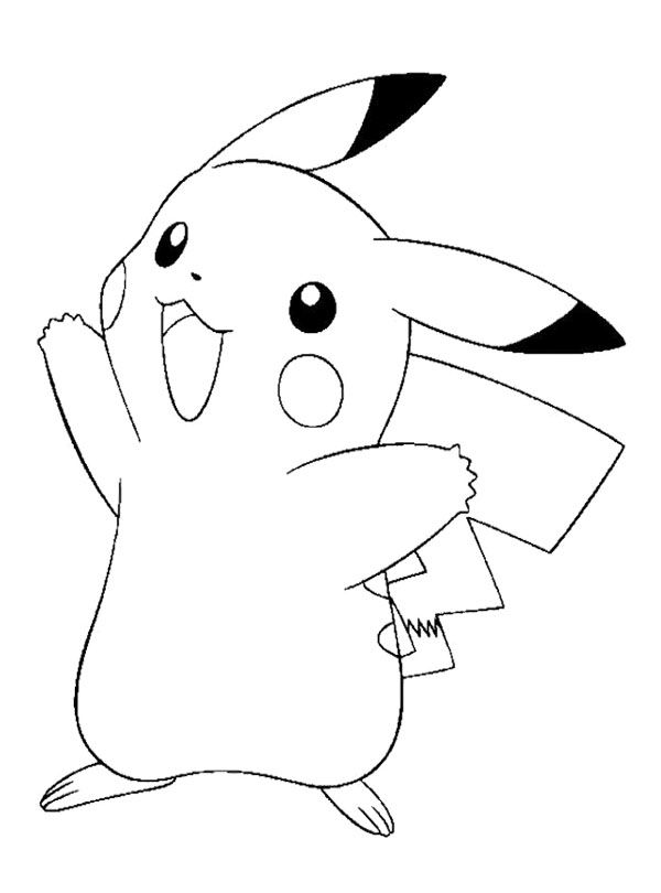 pikachu happy coloring page colouring pages pinterest