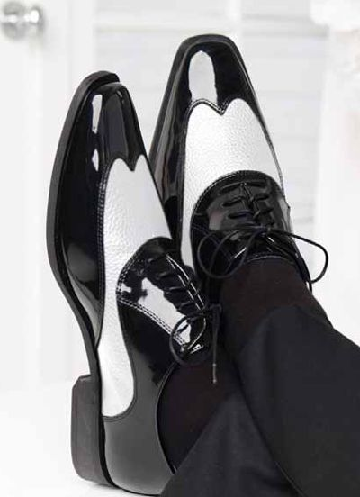 We love these shoes! Find them at Strictly Formal. Manhattan Black & White Wing Tip Shoe