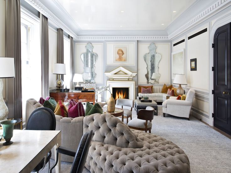 Steven Gambrel | Upper East Side Residence with an extravagant upholstered sofa in a funky shape. #modernsofas #sofasdesign