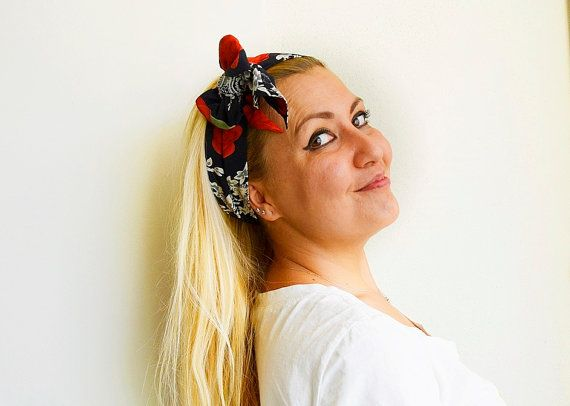 Black and Red Flowered Fabric Turban Headband Boho by BizimFlowers