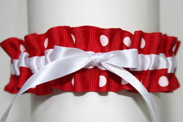 red and white #polka #dot with white satin bow stylish #wedding garter - julianne smith 1