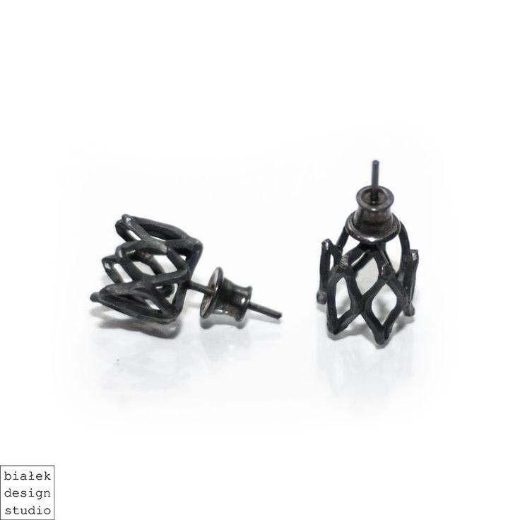 Oxidised silver earrings | Lattice round collection  | Contemporary earrings by contemporary jewellery designer Piotrek Białek  bialekdesignstudio@gmail.com https://www.etsy.com/shop/BialekDesignStudio https://www.facebook.com/bialekdesignstudio/ www.bialekdesignstudio.com