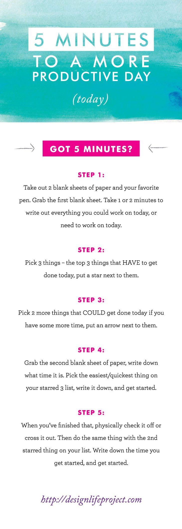 Einfache ToDo Liste für den Tag: in 5 Schritten zu mehr Produktivität - MITs  5 Minutes to a More Productive Day
