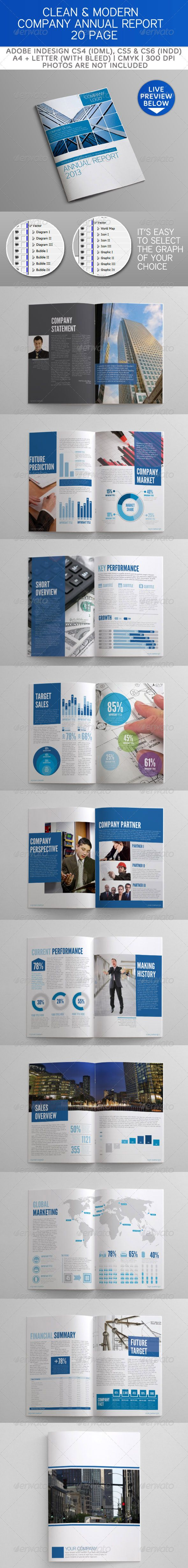 Clean and Modern Company Annual Report  - GraphicRiver Item for Sale
