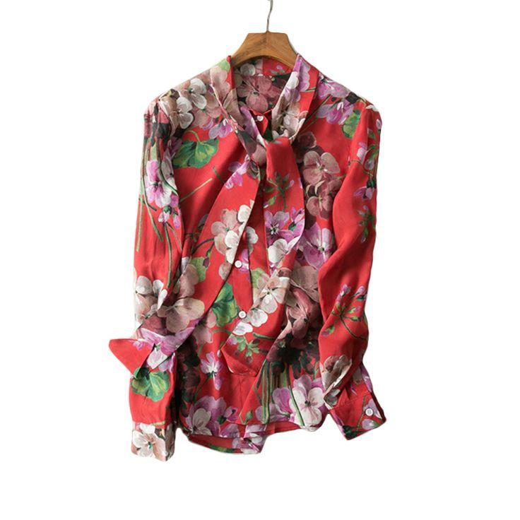 2017 Spring Summer European American Women Long Sleeve Flower Printed Bow Shirt Soft Chiffon Plus Size 4XL Blouses High Quality