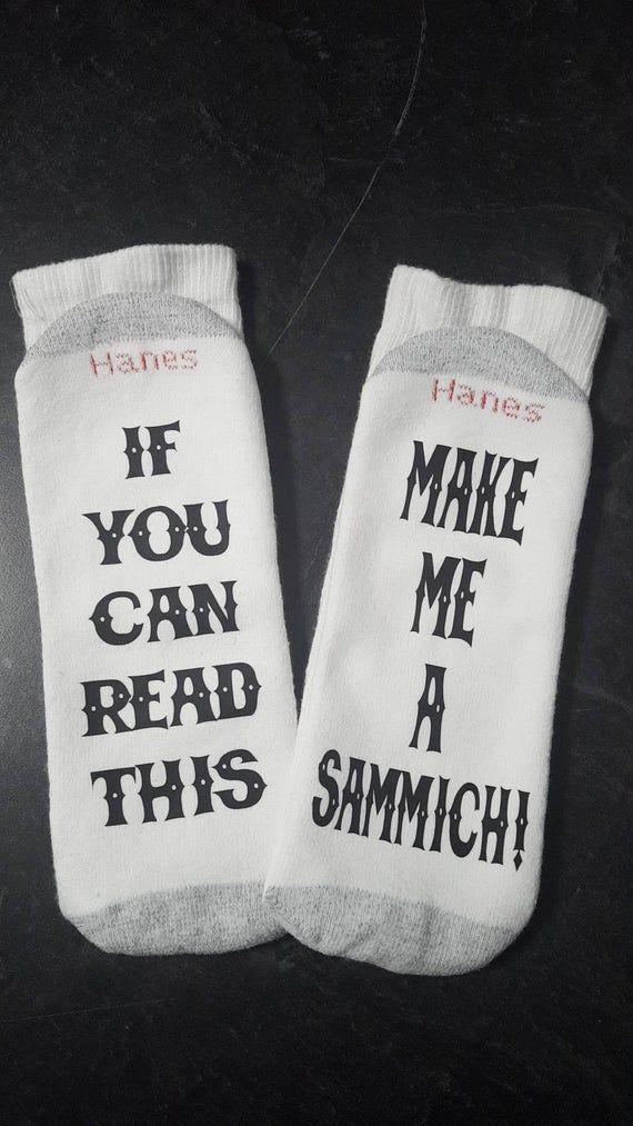 Wenn Sie diese Socken lesen können, machen Sie mich zu einem Sammich, Socken mit Sprüchen, Socken mit Wo