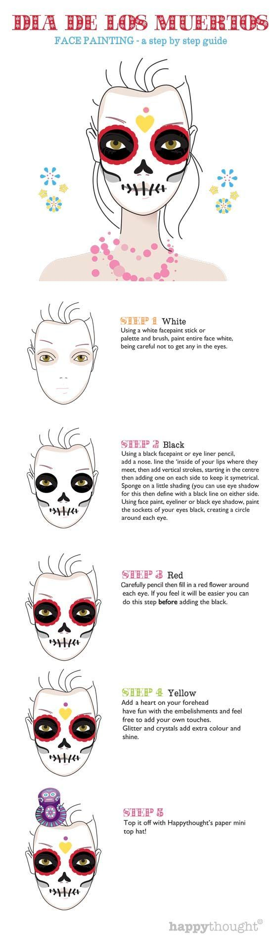 Skull face paint tutorial steps: Calavera sugar skull idea!