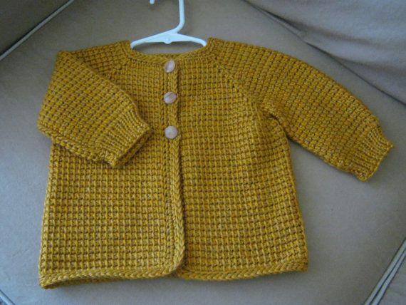 Crochet Baby Girl Sweater - Ochre Yellow - 12-18 Months - Tunisian Crochet - Handmade on Etsy, $40.00