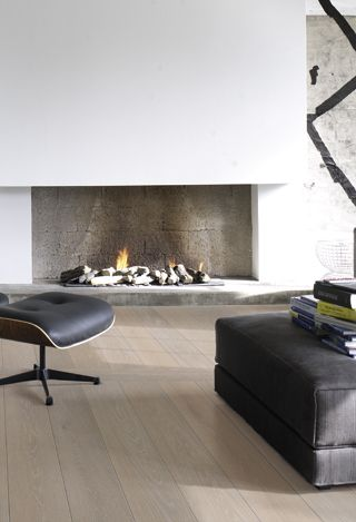 | FLOORING | FIREPLACE | Piet Boon.flooring by Solidfloor Adore the simple pallete of white washed floors and drywall.