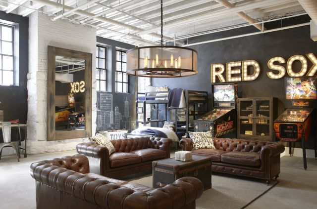 Red Sox room at Restoration Hardware Boston
