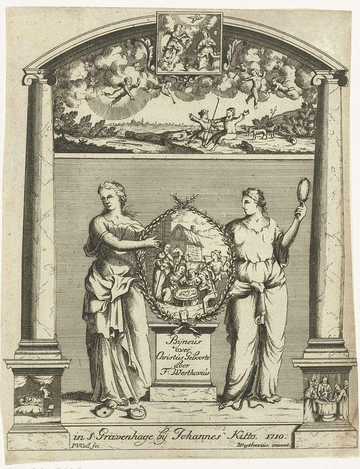 Pieter van Call (II) | Twee vrouwen tonen een medaillon met de aanbidding van de herders., Pieter van Call (II), Johannes Kitto, 1710 | Twee vrouwen tonen een medaillon met de aanbidding van de herders. Het medaillon rust op een sokkel. De rechts figuur houdt een spiegel in haar hand en vertrapt een slang met haar voet, de linker vertrapt een narrenstaf. De twee vrouwen staan onder een boog. In de boog zijn afbeeldingen verwerkt die te maken hebben met de geboorte van Christus. Boven de…