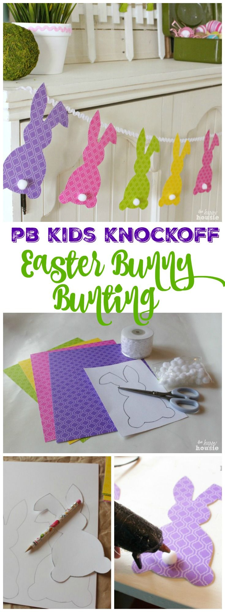 Make your own quick easy and adorable PB Kids Knockoff Easter Bunny Bunting tutorial at the happy housie