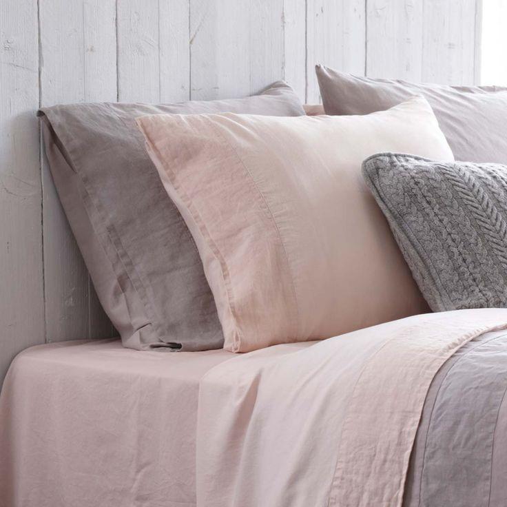 stonewashed katoen satijn - Poederroze en grijs.. mooie kleuren voor Jamie's kamer!