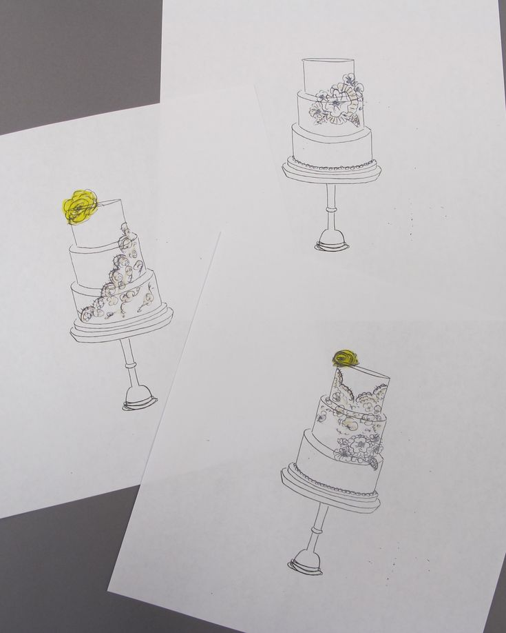Various Sketches for Wedding Cake