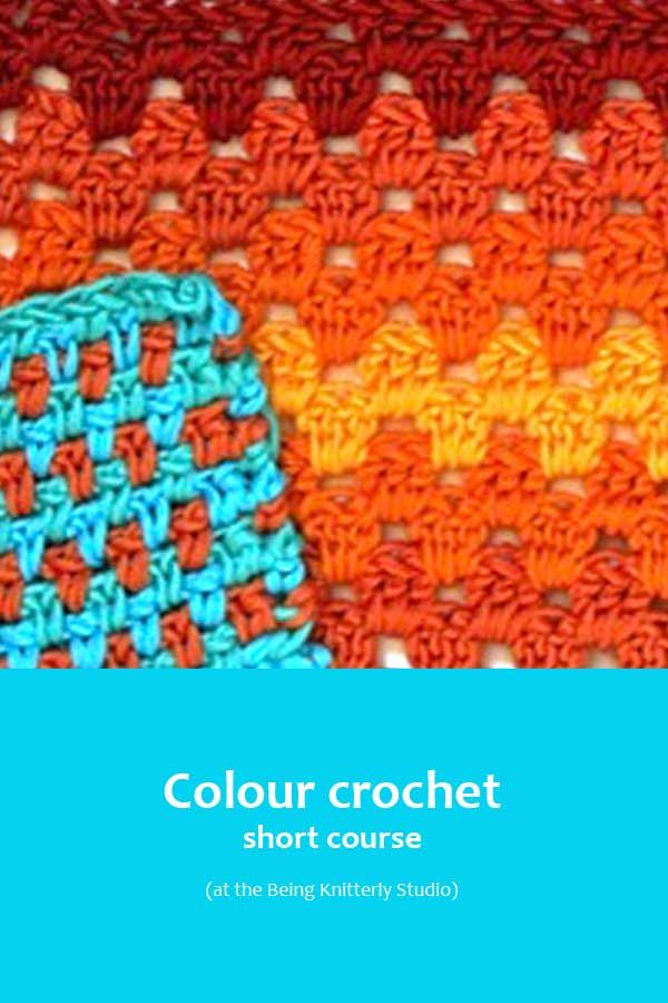 Learn a variety of stitch patterns from granny stripes to waves and chevrons to spike stitches to crochet intarsia. Learn how to choose colour palettes. Colour crochet short course with Nicki Merrall from Being Knitterly.