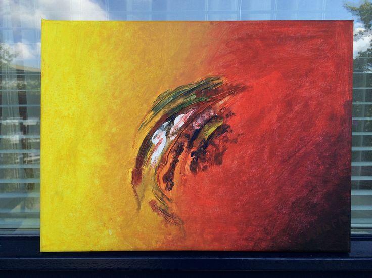 Naam: Rio  Afmetingen: 40x30 Extra informatie: handgeschilderd; acrylverf en oliverf op canvas doek; meegeschilderde zijkanten; direct op te hangen; gesigneerd.