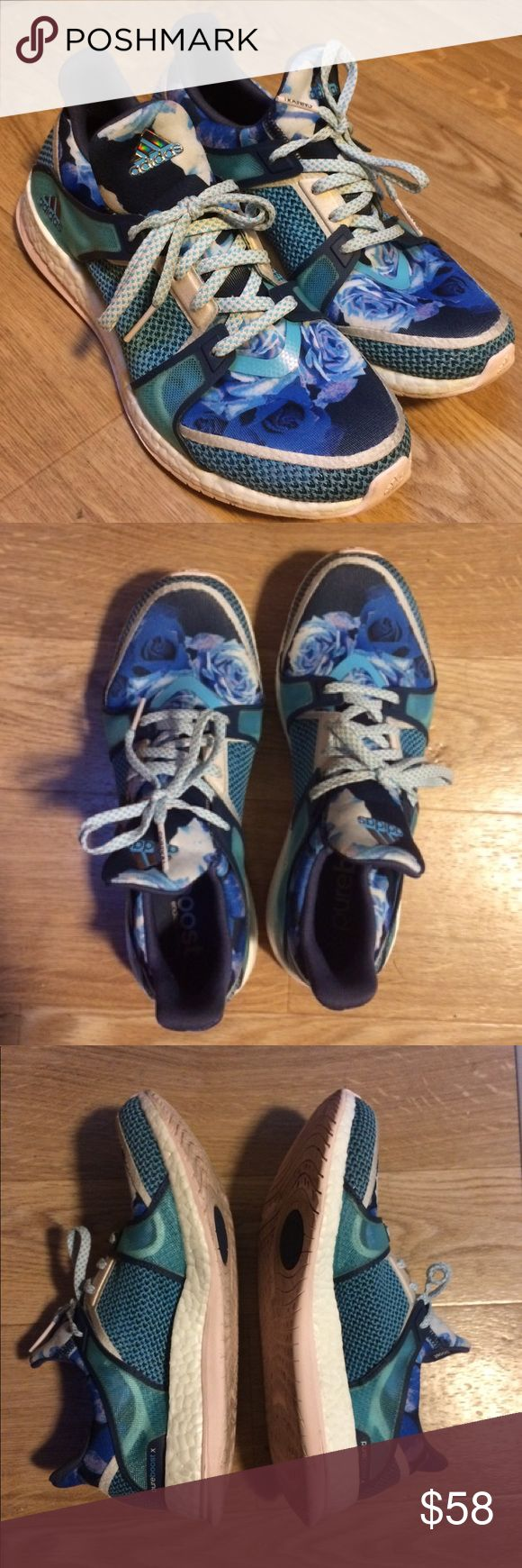 Adidas Pure Boost Blue Floral Sneakers X Tr Sz 8 Used, good condition. Sock like construction to hug your foot. Boost material keeps your foot comfortable all day. Blue multi upper with very light pink sole. Please let me know if you have any questions prior to purchase. adidas Shoes Sneakers