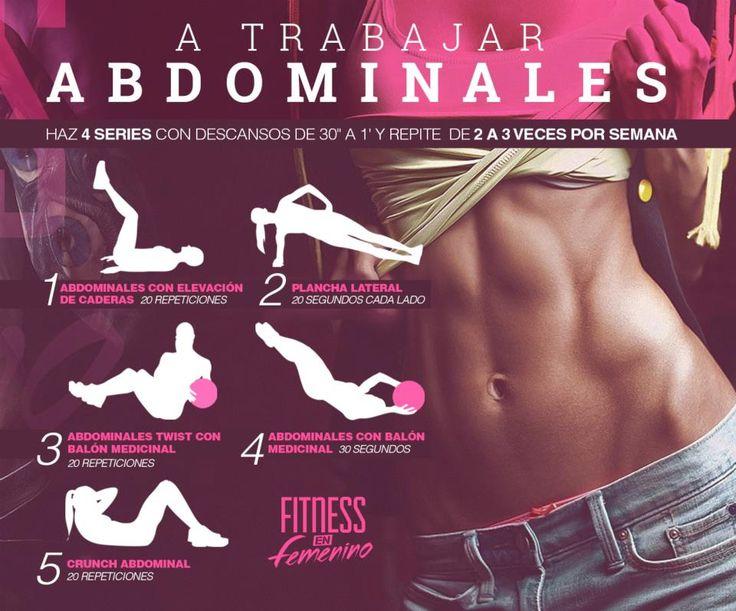 Tabla de ejercicios para tonificar abdominales   #Fitness #abdominales #ejercicios