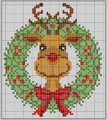 Cross-stitch Rudolph ... no color chart available, just use pattern chart as your color guide.. or choose your own colors... gazette94: free pattern