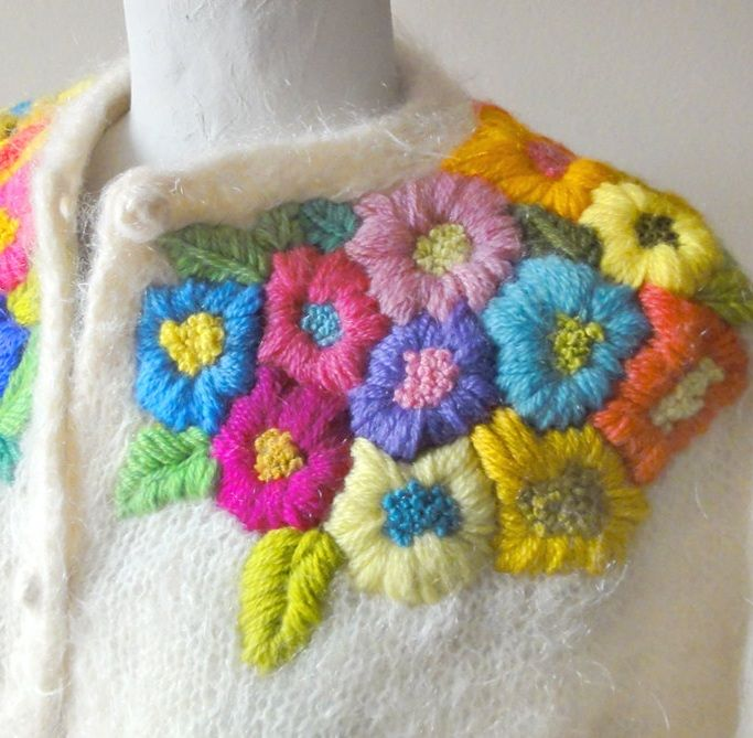 Vintage Mohair Cardigan With Embroidered Flowers 1960's