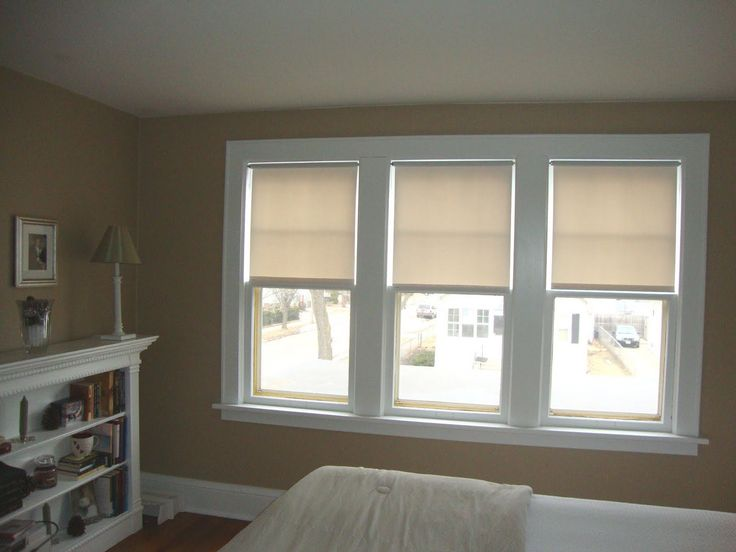 White Triple Single Hung Window Completed With Contemporary Loft Window Curtains