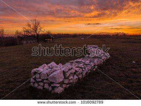 Ruins on Krakus Mound in Krakow, Poland