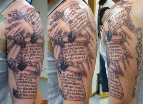 Full sleave scroll tattoo