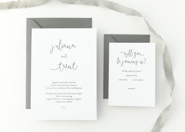PAPER SAMPLES Juliana Simple Wedding Invitation / Save the Date / Rustic Wedding Invitation / Calligraphy / Letterpress Wedding Invitation by augustandwhitedesign on Etsy https://www.etsy.com/listing/225576256/paper-samples-juliana-simple-wedding