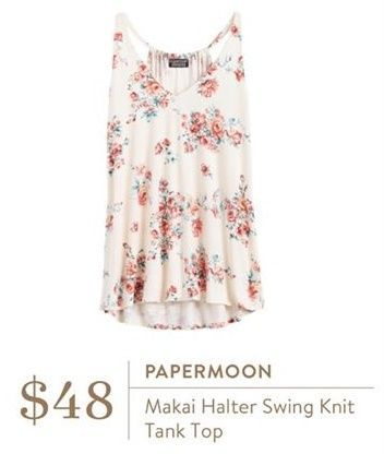 Stitch Fix Papermoon Makai Halter Swing Knit Tank Top . Would be cute with the gray leather jacket and burgundy maybe skinnies?