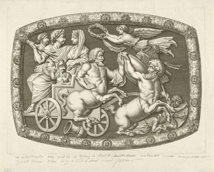 Simon Fokke | Onyx met een Romeinse praalwagen en twee centauren, Simon Fokke, 1765 - 1767 | Een onyx met de beeltenis van een Romeinse praalwagen waarop een gelauwerde man met vrouw en kind zit. Voor de kar lopen twee centauren, in de lucht vliegt een engel met een lauwerkrans. Rond de onyx een rijk versierde lijst. De onyx zou op 11 september 1765 in de Munt te Amsterdam worden verkocht.