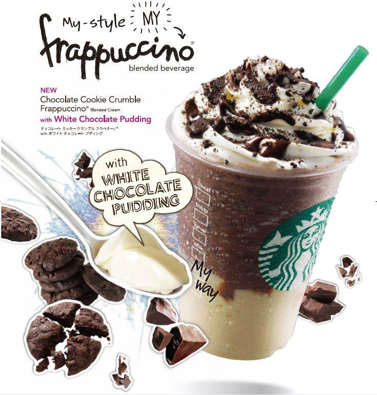 Starbucks Japan Chocolate Cookie Crumble Frappuccino with White Chocolate Pudding.