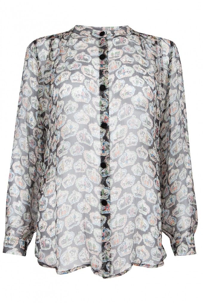 Crown Print Silk Shirt, Shirtaporter
