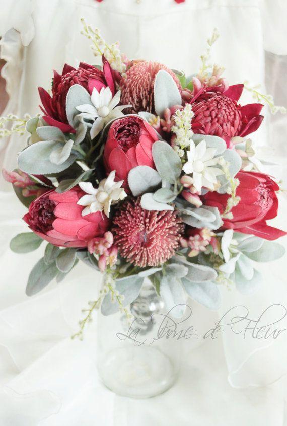Kimberley - Bride's bouquet of Australian natives. Banksias, waratahs, proteas, kangaroo paw and flannel flowers.