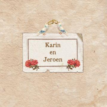 Nostalgische #trouwkaart Karin & Jeroen met mooie witte duiven