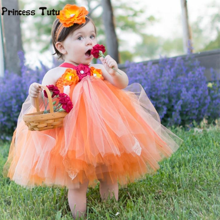 16.20$  Watch now - http://ali6j4.shopchina.info/go.php?t=32741219127 - Girls Tutu Dress Cute Tulle Princess Dress Orange Baby Girls Christmas Halloween Costume Kids Girl Festival Birthday Party Dress 16.20$ #buyonlinewebsite