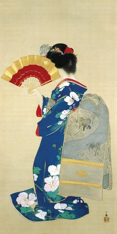 Japanese painting, Beauty hiding her face with a fan, by Takeuchi Seiho (1864-1942).