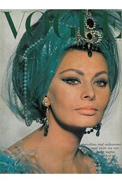 July 1965  Editor : Beatrix  Miller   Cover : David  Bailey                  Model : Sophia  Loren  Sophia Loren is shot on set of the film Lady L, dressed as a Turkish dancer.