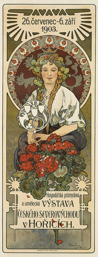 Poster by Alphonse Mucha (1860-1939), 1903, Agricultural, Industrial and Art fair in the northeast Bohemian town of Horcice, Prague.