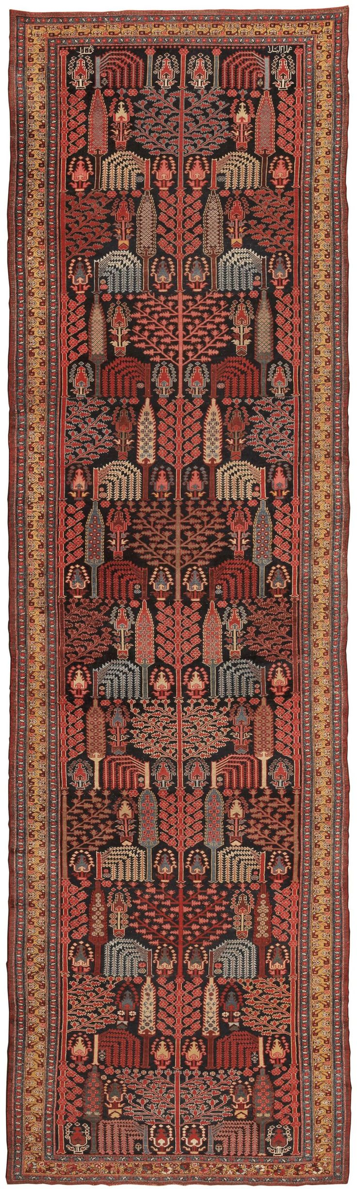 Antique Oriental Bakhtiari rug, Persia. Handmade and woven by master rug makers in Persia with a detailed weeping willow pattern