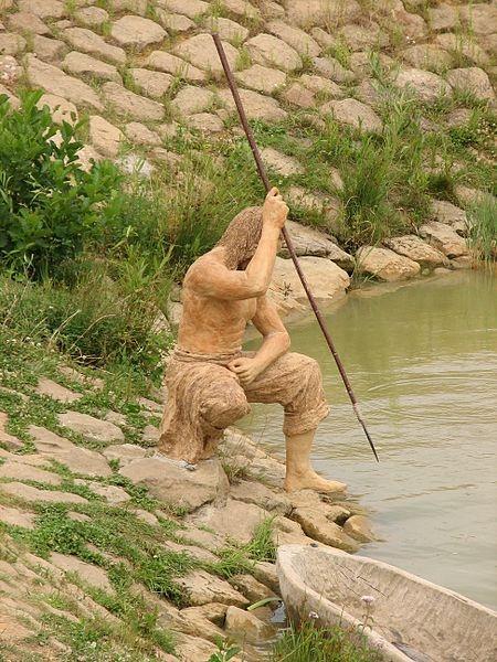 Archaeological outdoor museum in Modrá, Czech Republic - a fisherman
